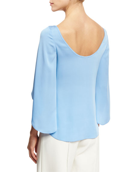 Bateau-Neck Butterfly-Sleeve Satin Blouse, Sky