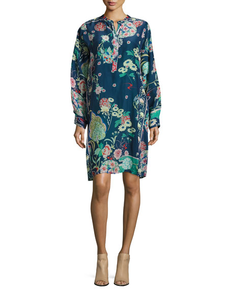 Johnny Was Ellyonora Half-Placket Floral-Print Dress