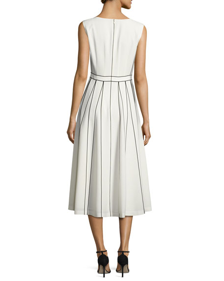 Maripose Finesse Crepe A-Line Midi Dress, Ivory