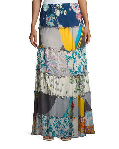Johnny Was Mixed Prints Tiered Long Skirt