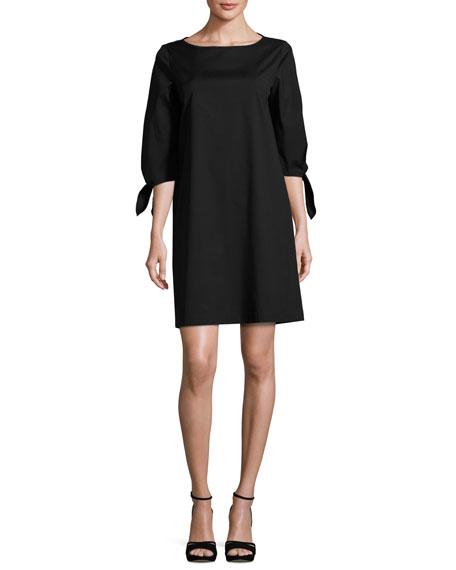 Elaina Tie-Sleeve Stretch-Cotton Shift Dress, Black