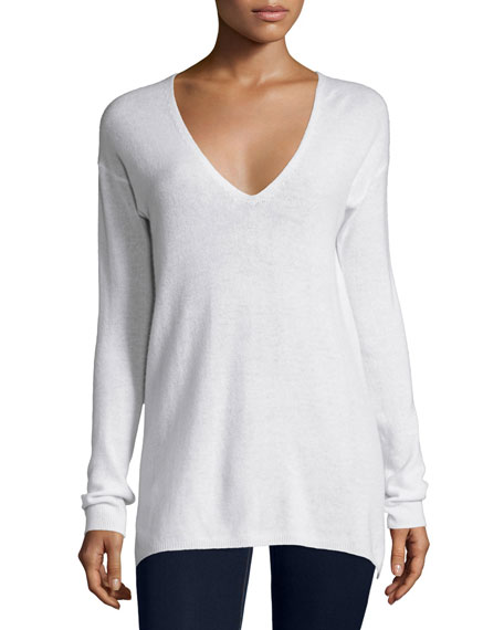 Joie Agnia Cashmere V-Neck Sweater, White