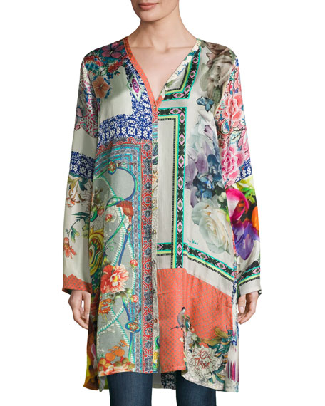 Johnny Was Biorla Long-Sleeve Button-Front Floral Tunic, Multi