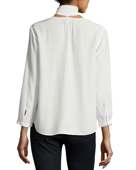 Nile Tie-Neck Silk Shirt, White