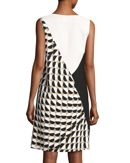 Diega Sleeveless Divided Dot-Print Tech Dress, Multi