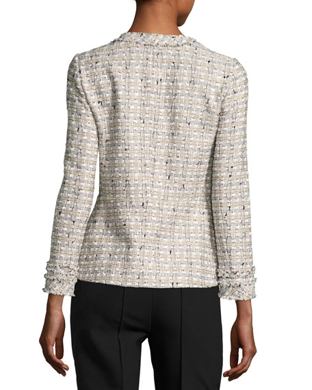 Emelyn Open-Front Plantain Tweed Jacket, Multi
