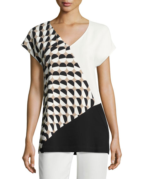 Lafayette 148 New York Charlize Short-Sleeve Divided Dots