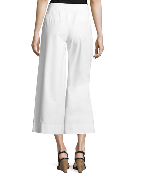 Kenmare Cropped Wide-Leg Pants, White