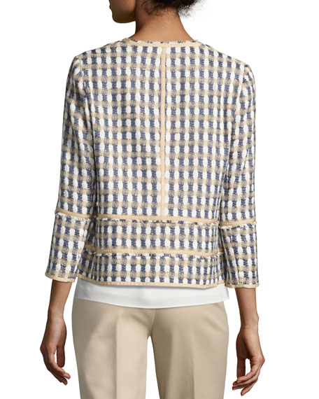 Aisha 3/4-Sleeve Playa Tweed Jacket, Multi