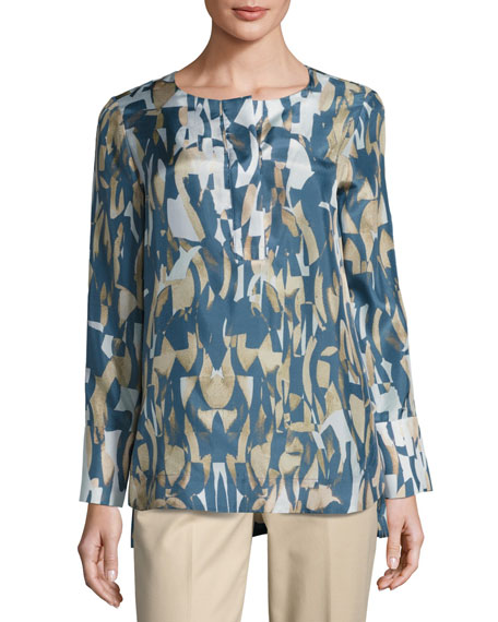 Lafayette 148 New York Katerine Long-Sleeve Laguna Tide