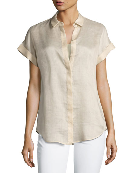 Gemma Short-Sleeve Button-Front Blouse, Gold
