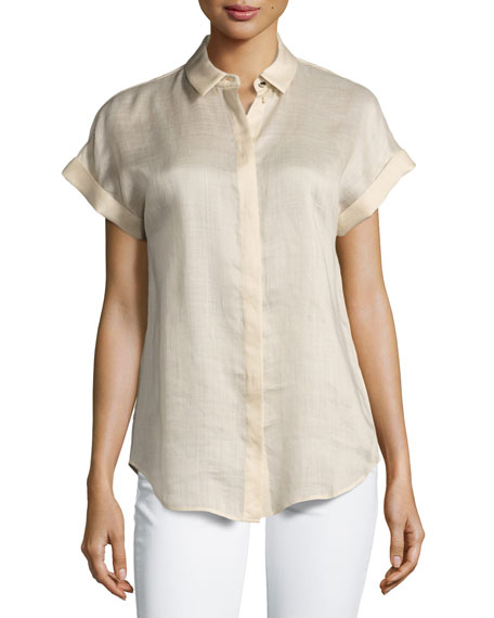 Lafayette 148 New York Gemma Short-Sleeve Button-Front Blouse,