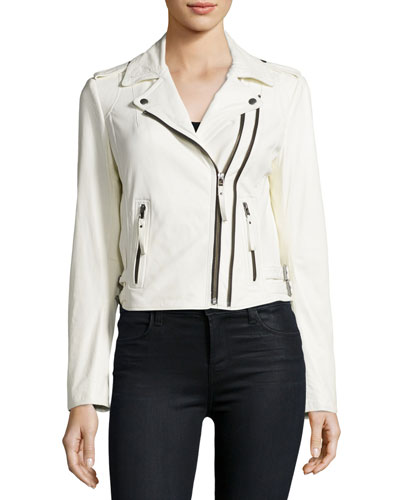 Hayworth Leather Moto Jacket, White
