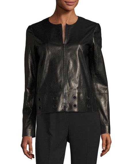 Glazed Lamb Leather Jacket w/ Grommet Detail, Black