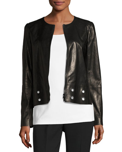 Glazed Lamb Leather Jacket w/ Grommet Detail, Black