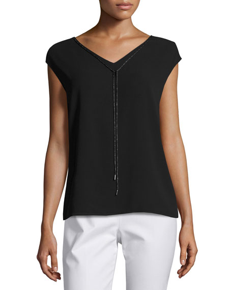 Chain-Trim Cap-Sleeve Silk-Blend Blouse