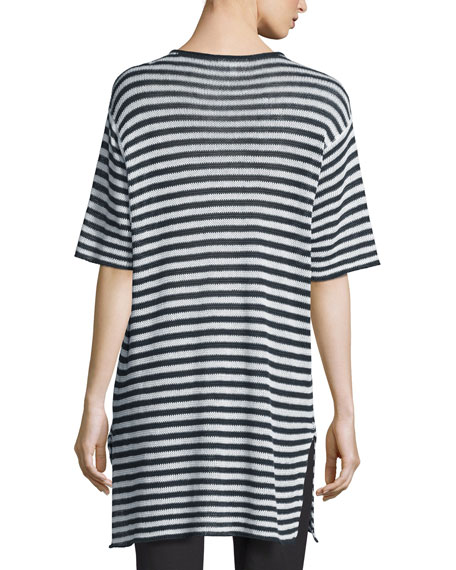 Half-Sleeve Striped Organic-Linen Sweater, Graphite/White, Petite