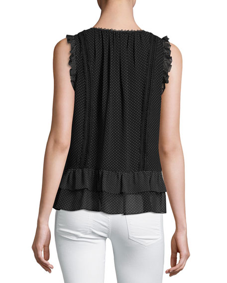 Cici Dot-Print Sleeveless Ruffle Top, Black