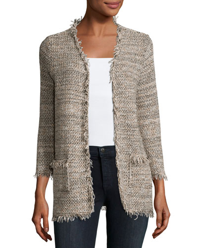 Philisa Tweed Fringe-Trim Open-Front Jacket, Gray