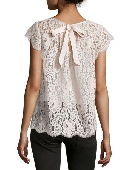 Channelle Bow-Back Lace Top, Blush