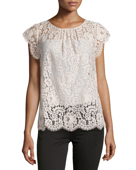 Joie Channelle Bow-Back Lace Top, Blush