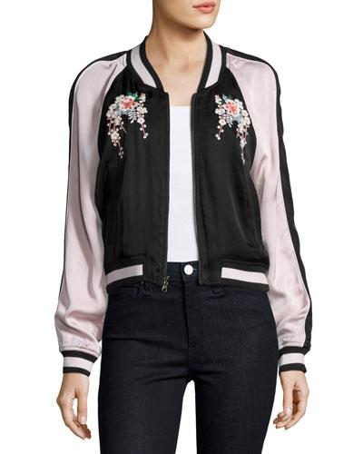 Juanita Floral-Embroidered Bomber Jacket, Black/Pink