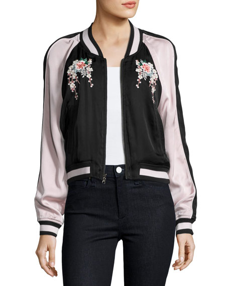Black bomber jacket with embroidery