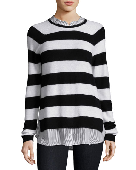 Joie Aisley Striped Cashmere Sweater-Shirt Combo Top, Black