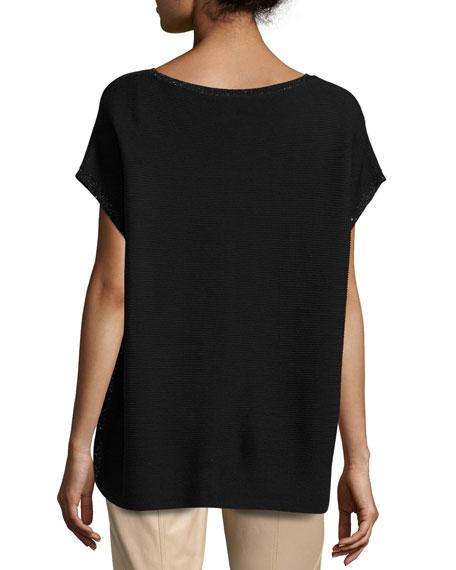 Short-Sleeve Sequin-Trim V-Neck Sweater