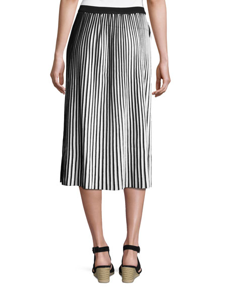 Striped Cotton Crepe Plisse Skirt, Black/White