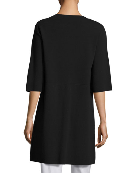Matte Crepe Zip-Front Sweater Jacket, Black