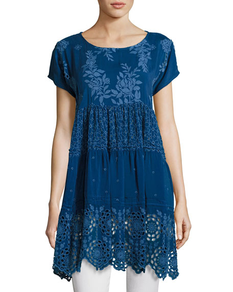 Johnny Was Arva Short-Sleeve Tiered Georgette Tunic Frame