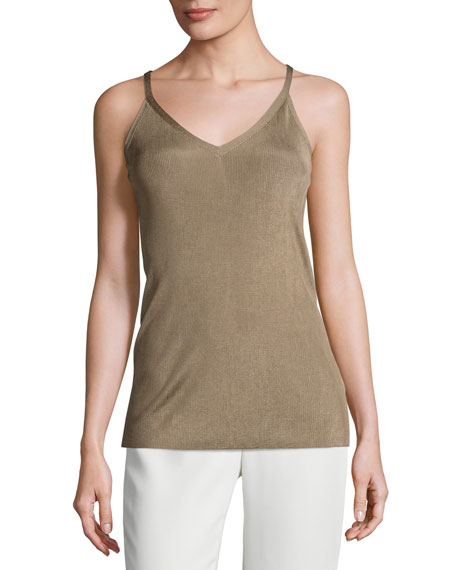 Lafayette 148 New York Radiant Shimmer Ribbed Tank,
