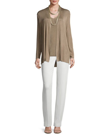Radiant Shimmer Ribbed Open Cardigan, Light Brown