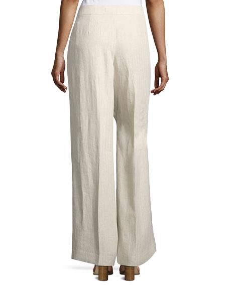 Kenmare Havana Herringbone Wide-Leg Linen Pants, Multi