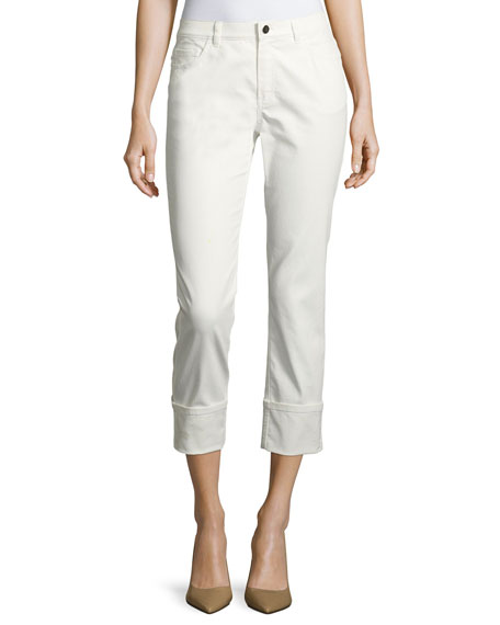 Lafayette 148 New York Waxed Cropped Cuffed Jeans,