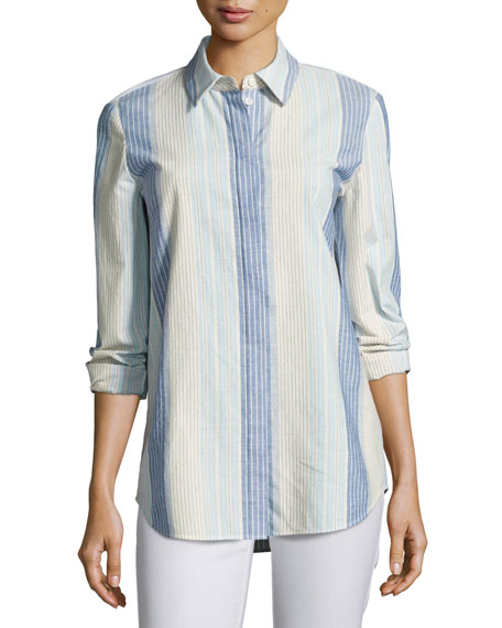 Lafayette 148 New York Brody Caribbean Striped Button-Down