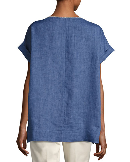Lori Short-Sleeve Chambray Linen Top w/ Chain Detail, Medium Blue