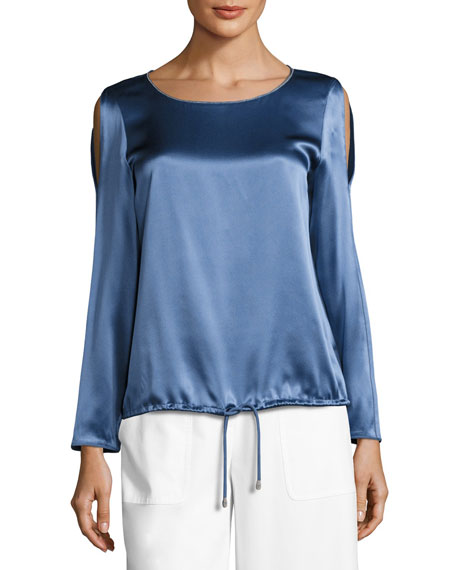 Lafayette 148 New York Maxina Long-Sleeve Cold-Shoulder Silk