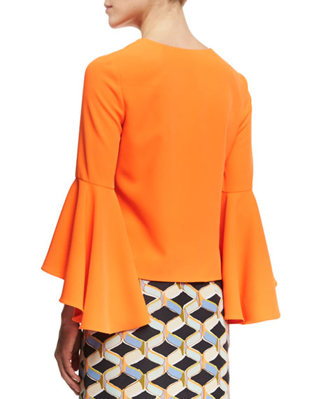 Nicole Bell-Sleeve Italian Cady Blouse, Orange