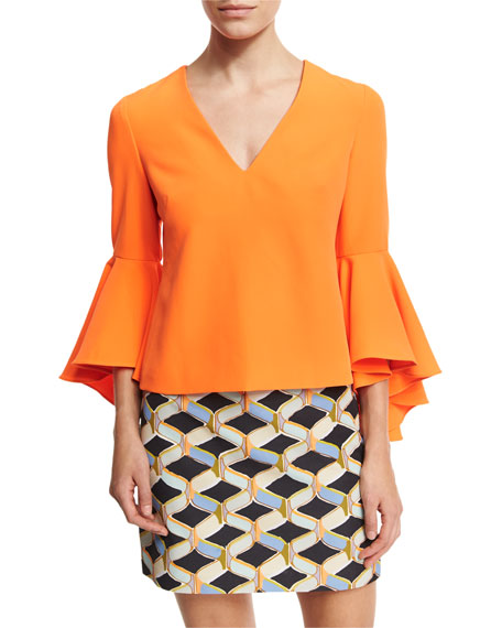 Milly Nicole Bell-Sleeve Italian Cady Blouse, Orange