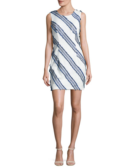 Milly Kendra Diagonal-Striped Mini Sheath Dress, Navy