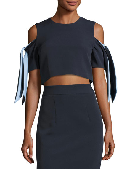 Milly Ansley Cold-Shoulder Stretch-Crepe Cropped Top, Blue