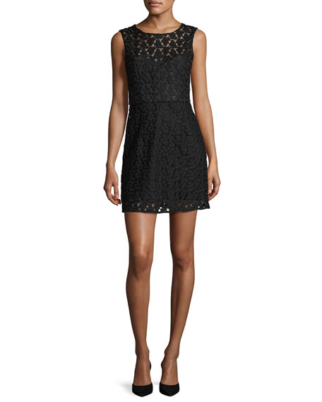 Milly Nina Sleeveless Floral-Embroidered Lace Dress, Black