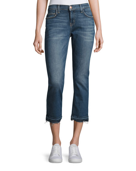 Current/Elliott The Cropped Straight-Leg Jeans with Released Hem,