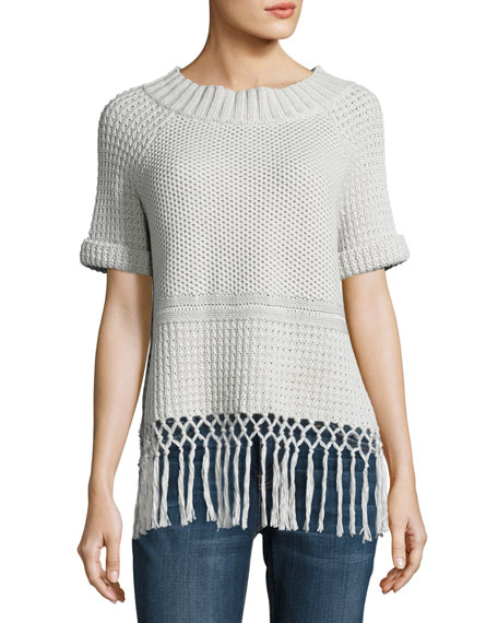 Current/Elliott The Peggy Crochet Short-Sleeve Sweater, Gray