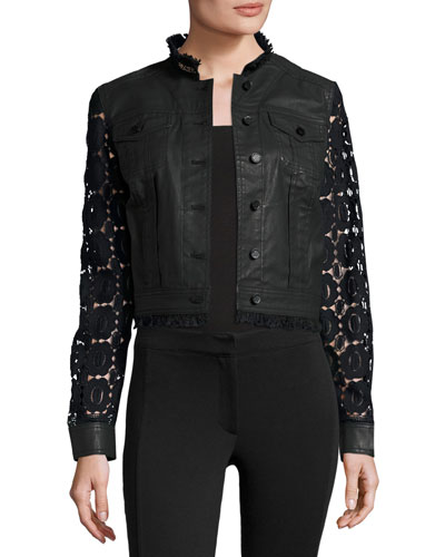 Meggie Lace-Back Denim Jacket, Black