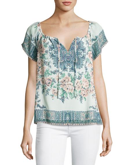 Joie Taj Floral-Print Short-Sleeve Top, Blue/Orange