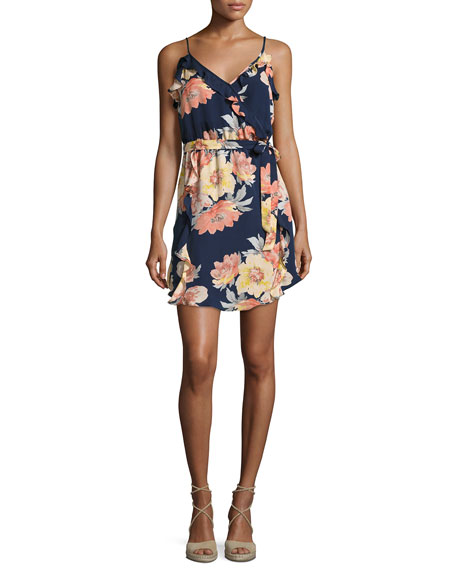 Foxglove Floral-Print Silk Wrap Dress, Blue/Multicolor