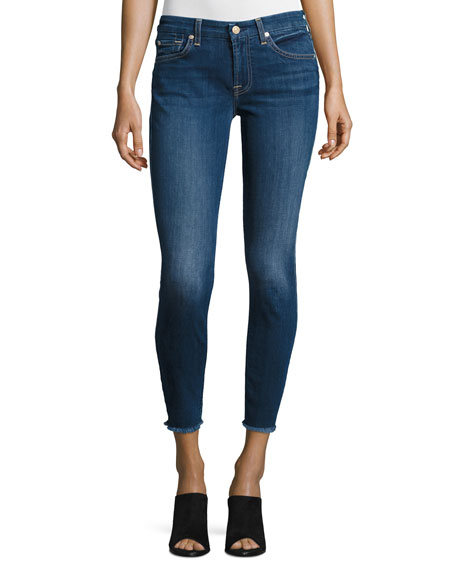 7 For All Mankind Woman Faded Mid-rise Skinny Jeans Mid Denim Size 23 7 For All Mankind 3OErHf
